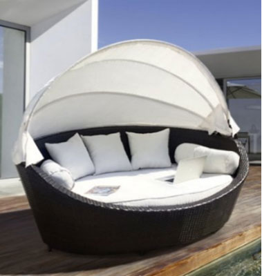 Basma by LuxuryGarden Garden Round Rattan Wicker Day Bed Patio Lounger Furniture Set Canopy Circular & Round Outdoor Daybeds ~ Outdoor Furniture