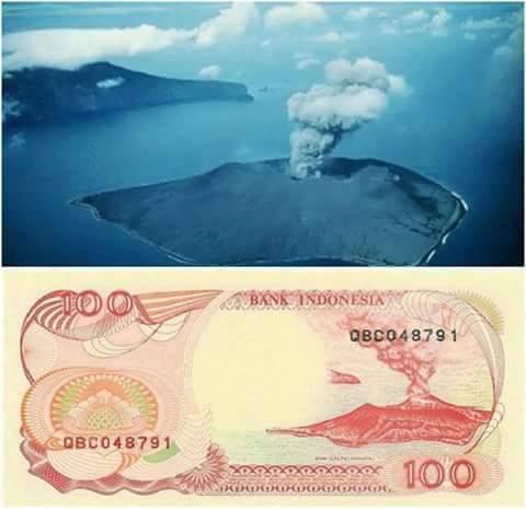 uang kertas indonesia 100 rupiah anak gunung krakatau