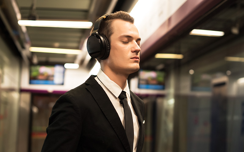 Image result for use headphones in a bus