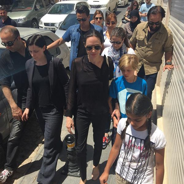 Angelina Jolie a refugee camp in Turkey