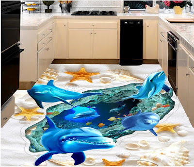 3D flooring designs and murals for kitchen epoxy floor painting