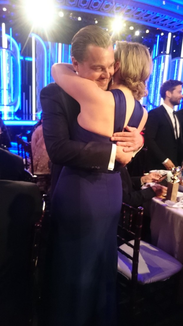 Leonardo DiCaprio and Kate Winslet reunite at the Golden Globes