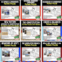 Civics Test Prep, Civics Test Review, Civics Study Guide, Civics Interactive Notebook Inserts, Civics Picture Puzzles