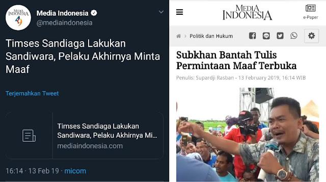 Setelah Ketahuan Hoax, Media Indonesia Akhirnya Ganti Judul