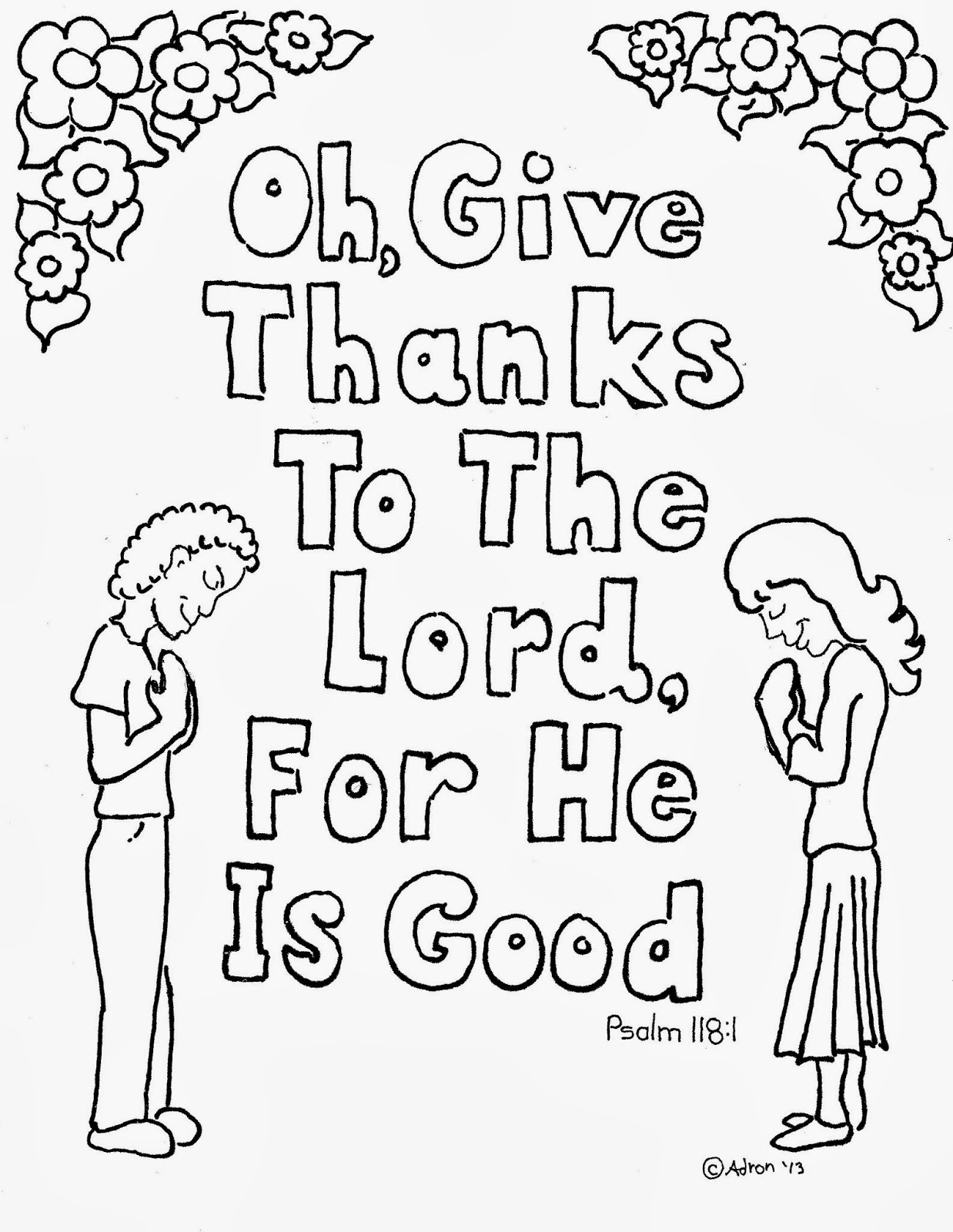 Give Thanks To The Lord Coloring Page - Eskayalitim
