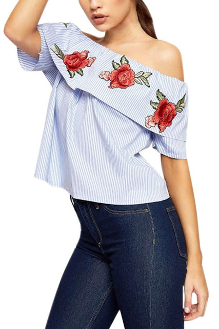Iyasson Women Striped Off Shoulder Rose Embroidery Top