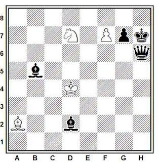 Estudio artístico de ajedrez compuesto por F. J. Prokop  (3º Premio,Torneo Internacional de Moscú 1925)