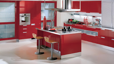 Interior Dapur dan Ruang Makan warna merah