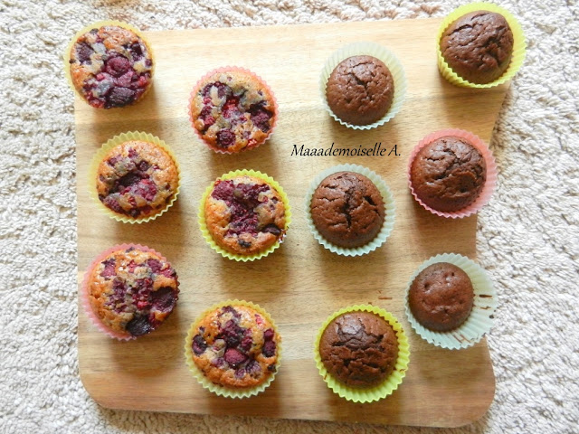 Muffins véganes framboise et chocolat