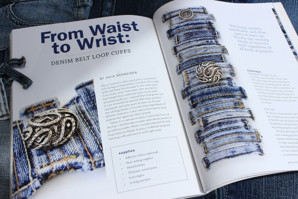 Upcycled Jewelry: Denim Belt Loop Cuffs by Vintage with Laces published in GreenCraft Magazine Spring 2017