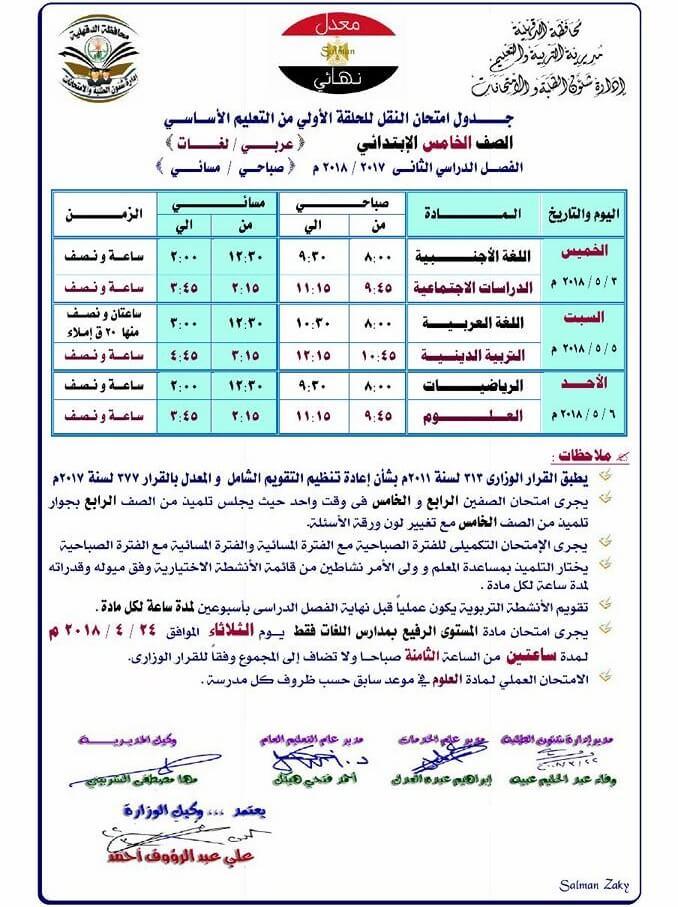 جدول امتحانات الصف الخامس الابتدائي 2018 الترم الثاني محافظة الدقهلية