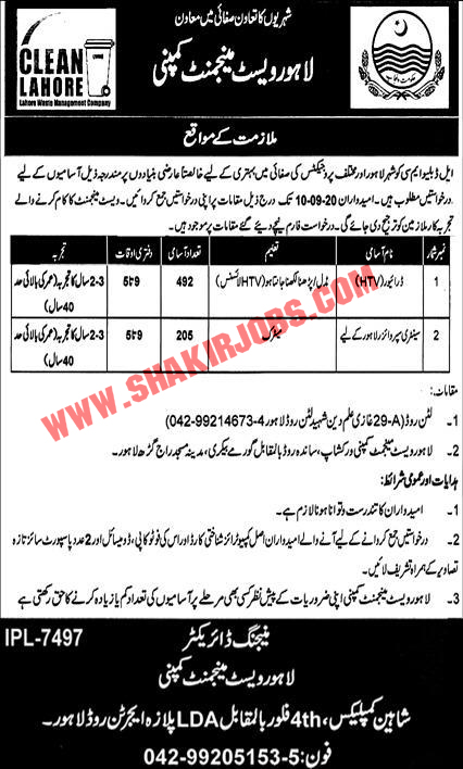 Jobs in Lahore Waste Management Company Jobs September 2020 (697 Posts)