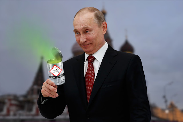 A silly-looking Владимир Путин (Vladimir Putin) stands in front of St. Basil's Cathedral. In his hand, an open tin-can with noxious green fumes emanating from it. THe tin-can has warning symbols and 'NOVICHOK' labels. At the bottom of the can in hand writing are the words: '100% cyka blyat!'