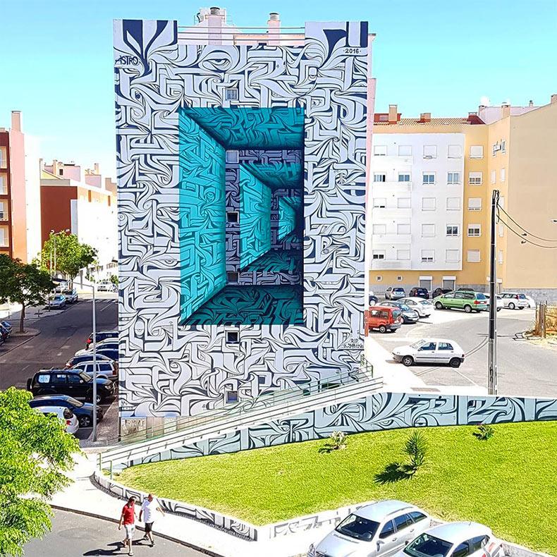 Murales caligráficos con ilusión óptica de Astro