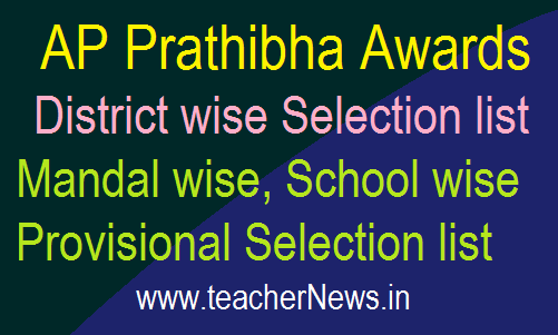 AP Prathibha Awards 2018 District wise Selection list, Mandal wise Provisional Selection list