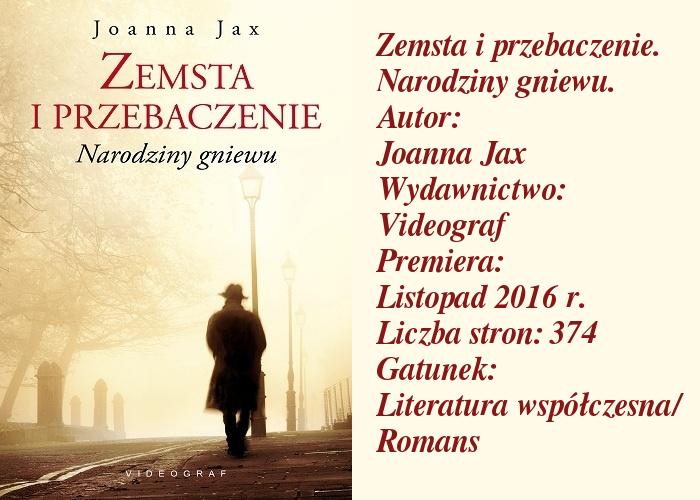 """Kolejna polska autorka zawitała na moim blogu. Zachwyt, czy tym razem niewypał? """"Zemsta i przebaczenie. Narodziny gniewu"""" Joanna Jax."""