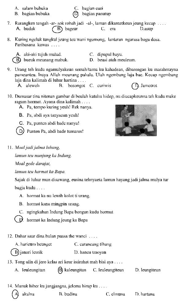 Soal Soal Bahasa Sunda Smk