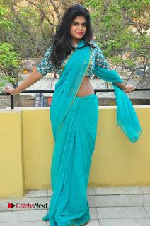 Telugu Actress Alekhya Stills in Green Saree at Swachh Hyderabad Cricket Press Meet  0085.JPG