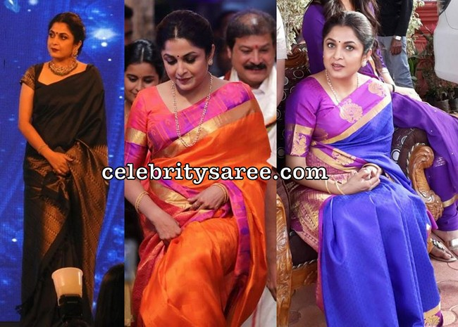 112797ccd3 South Indian actress Ramya Krishna wearing soft silk sarees. Left: Black  soft crepe silk saree with golden zari weave border and paired with short  sleeves ...