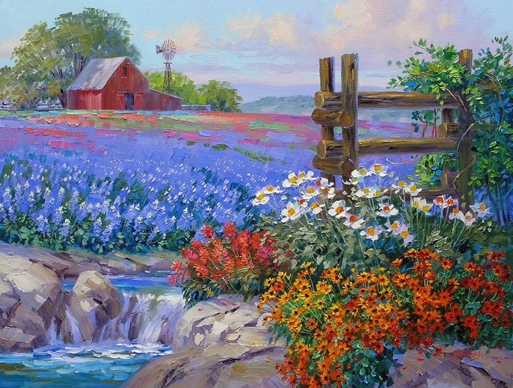 Im genes arte pinturas paisajes floridos de la primavera - Oleos de jardines ...