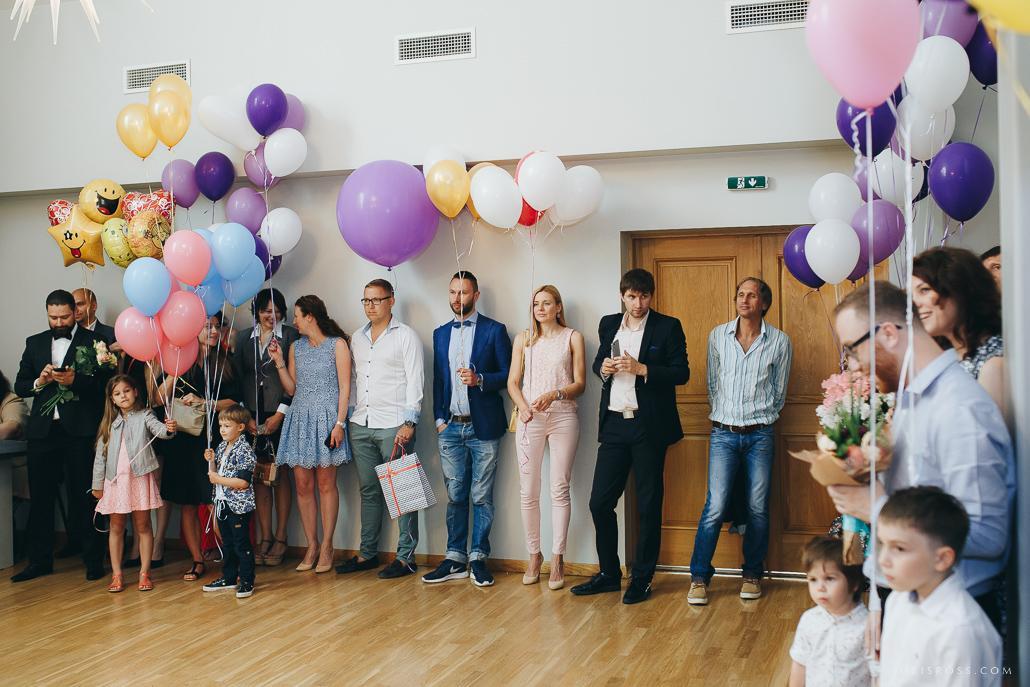baloni kāzās ceremonijā viesi