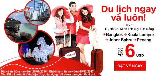 Khuyến mãi Air Asia du lịch thả ga chỉ từ 6 USD