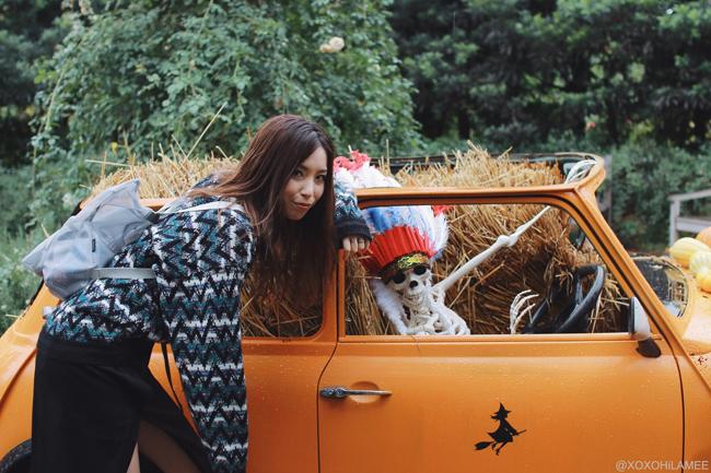Japanese Fashion Blogger,MizuhoK,20171014OOTD,Thank you mart-Chevron Knit sweater,CHOIES-wrap skirt,rag&bone-white boots from shopbop,oribagu-silver mesh bulldog backpack,happy halloween, yokohama english garden