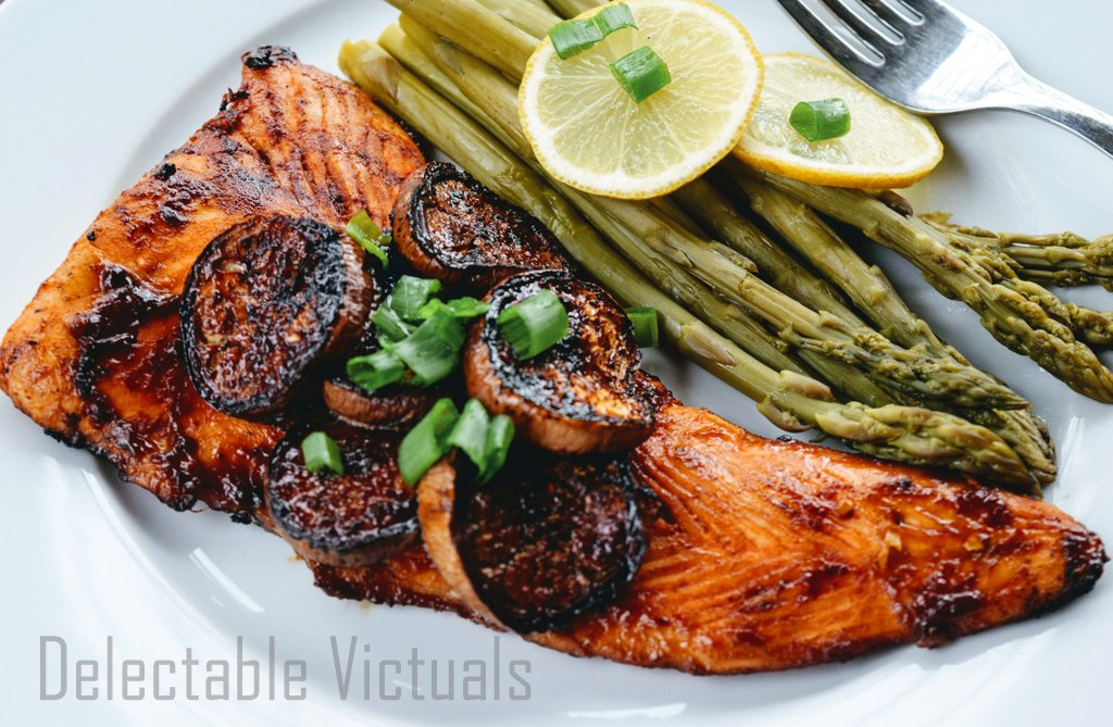 salmon fillet barbecue eggplant asparagus