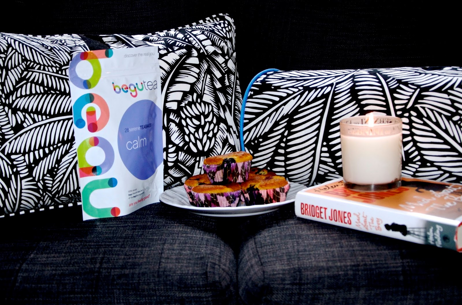 leaf print cushions, tea, blueberry muffins, bridget jones book, candle