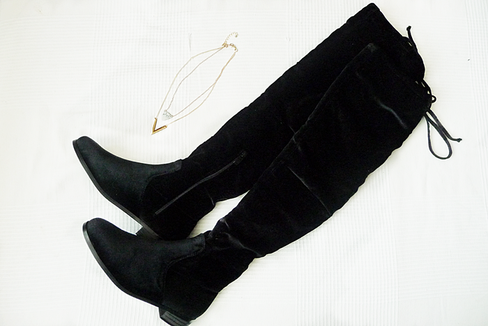 zaful.com OVER KNEE BOOTS & MARBLE NECKLACE