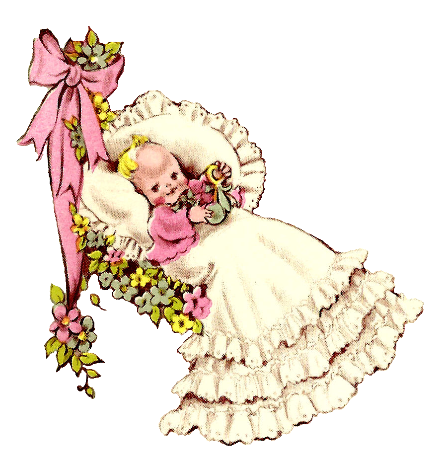 The White Frilly Puffy Pillow And Long Lacy Dress Of Baby Makes Illustration Even More Adorable Digital Vintage Downloads