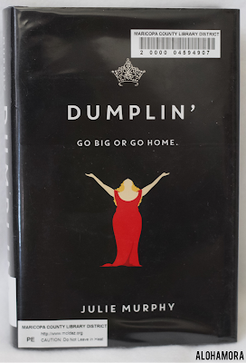 Dumplin' by Julie Murphy is the first in a contemporary realistic fiction series about a fat/overweight girl finding herself and  what it means to be a friend with a touch of romance.  If you like Rainbow Rowell give this one a read.  YA Lit, young adult literature, teen read, high school, 9th 10th, 11th, and 12th grade.  Alohamora Open a Book http://alohamoraopenabook.blogspot.com/