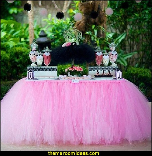 Tutu Table Skirts Tulle  Snowflake Wonderland Tutu Table Cloth Girl Princess Party Baby Shower Wedding Birthday Parties Decoration Pink