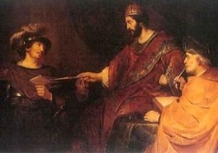 Nomes bíblicos estrangeiros masculinos com U - Imagem: A carta de Urias - Govaert Flinck