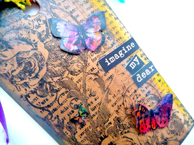 Stamped Wood Tag with Melted Crayon Colored Butterflies by Dana Tatar for Faber-Castell