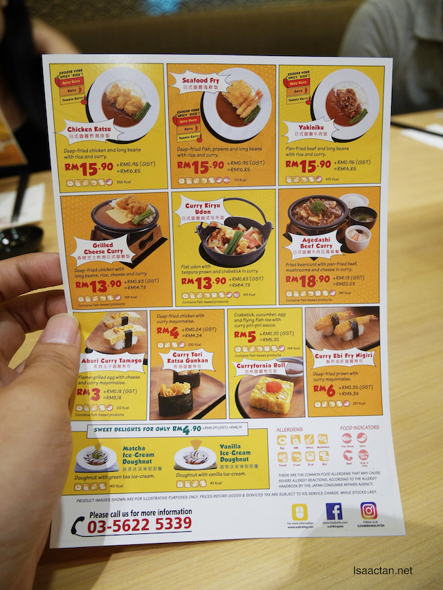 The new curry menu at Sushi King