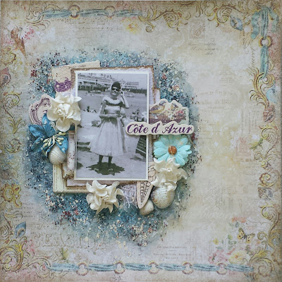 french riviera mixed media scrapbook layout with video tutorial