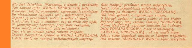 wierszowana reklama 1928,  czelolada Wedla