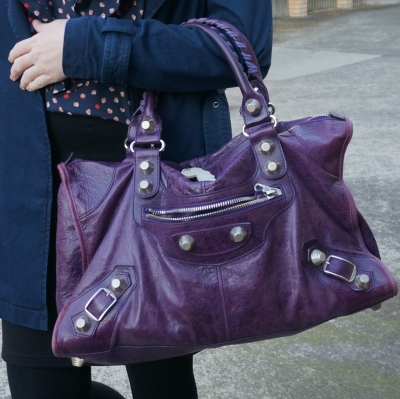 navy trench, Balenciaga raisin purple 2009 giant silver G21 hardware work bag | AwayFromTheBlue