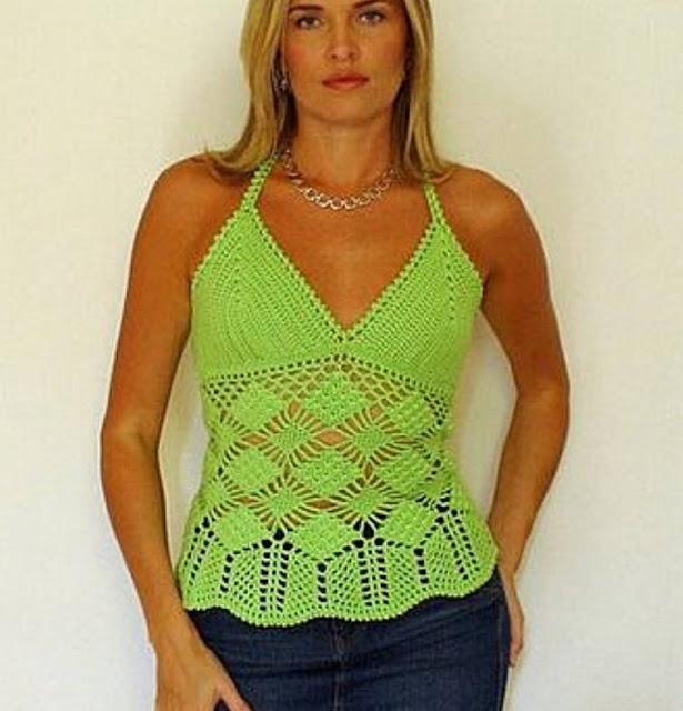 Blusa de Tirantes Verde a Crochet