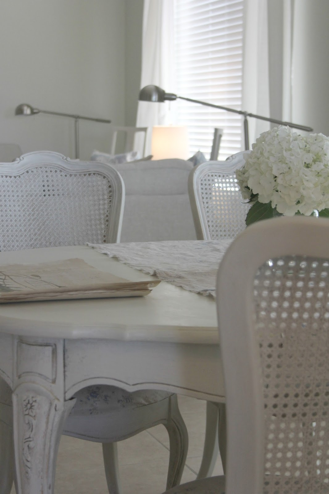 White French Country and Shabby Chic dining room on Hello Lovely Studio