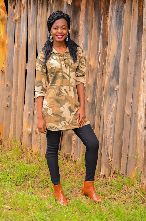 Wearing The Camouflage Fashion Trend With  Patent Leather Boots