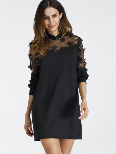 Embroidered Sheer Lace Insert Mini Hoodie Dress