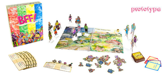 """A board game box and board, along with stand up character tokens, """"charm"""" tokens, some cards, and character cards."""