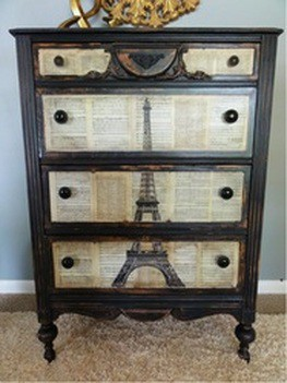 Dishfunctional Designs Upcycled Dressers Painted Wallpapered