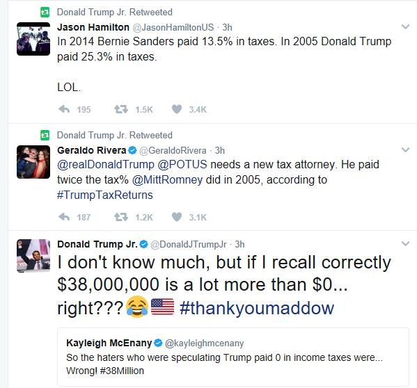 Donald Trump Jr Mocks Rachel Maddow For Her Trump Tax