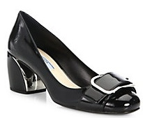 Patent Leather Buckle Block-Heel Pumps»