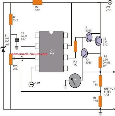 Regulated Power Supply Circuit Using opamp IC 741
