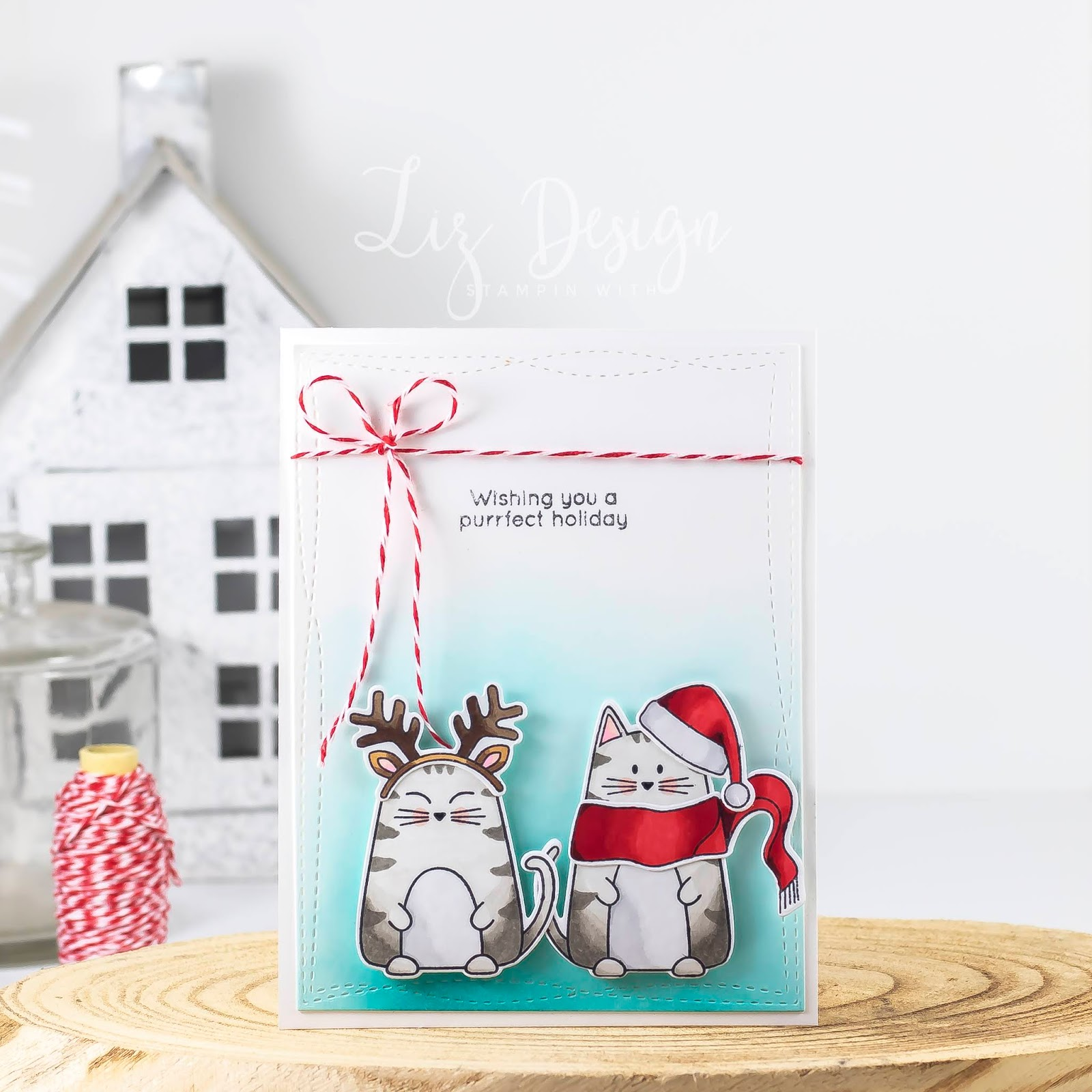 Stampin with Liz Design: Stampin with Liz Design: Christmas Cats Card!