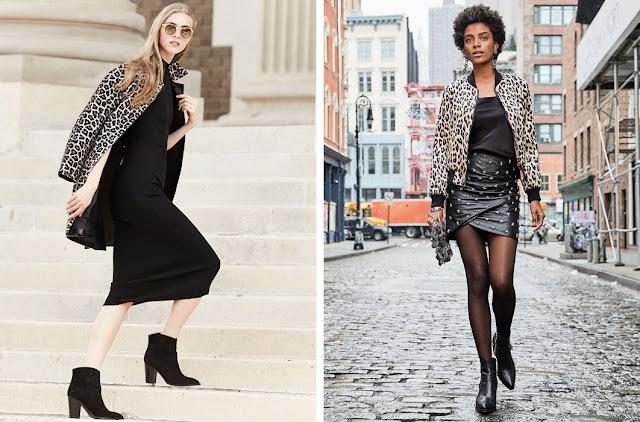 Леопардовое пальто с черным платьем и кожаной юбкой